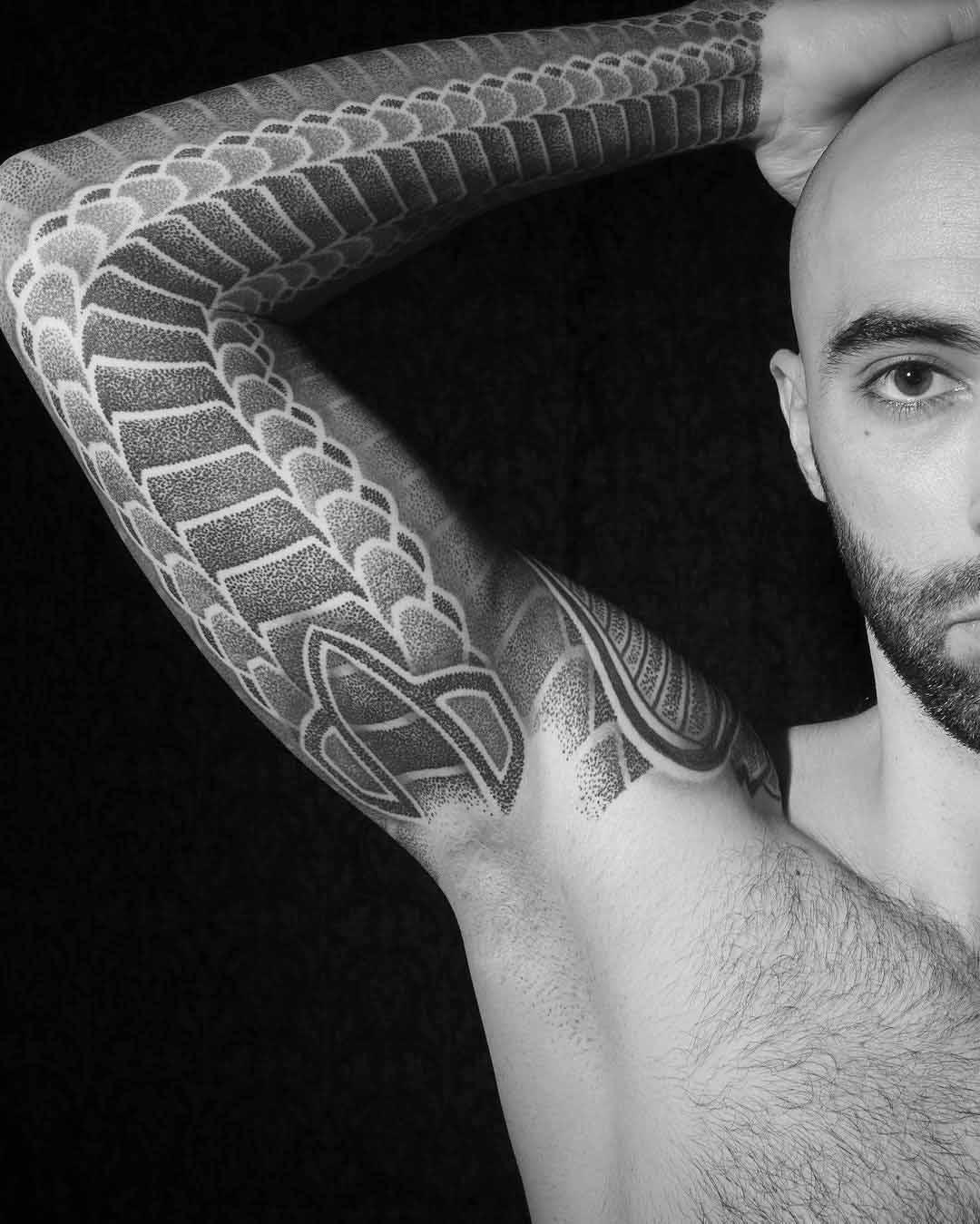 pattern tattoo sleeve dotwork