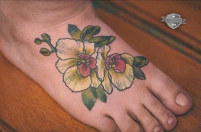 foot cute flower tattoo