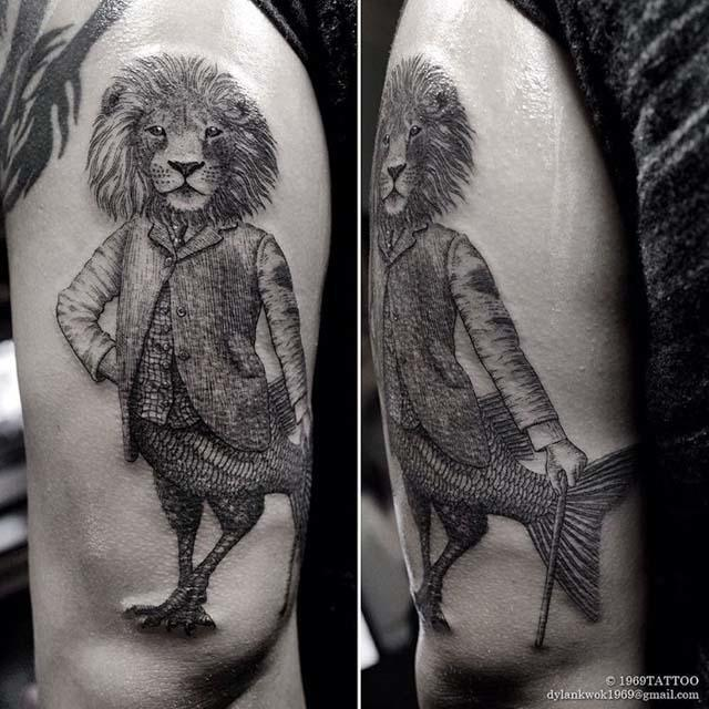 lion with fish tail tattoo
