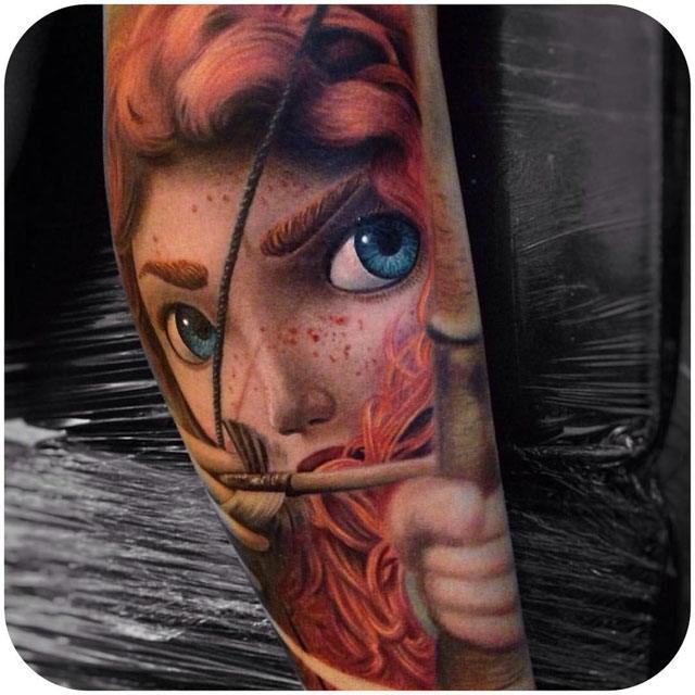 arm tattoo of Merida from the Brave