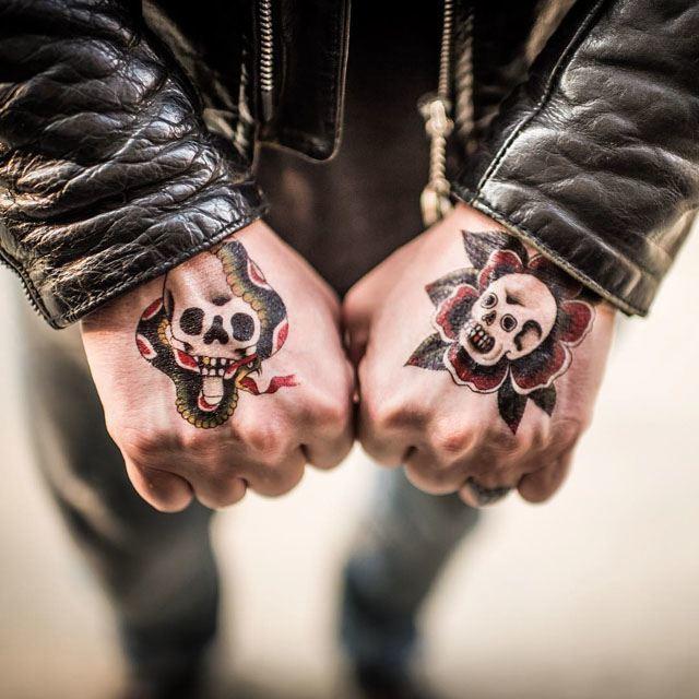 old school skull tattoos on hands