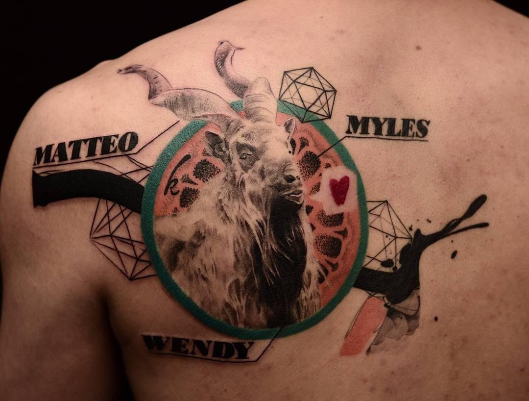 shoulder blade goat tattoo