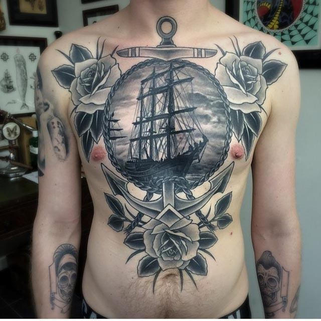 stomach and chest nautical tattoo