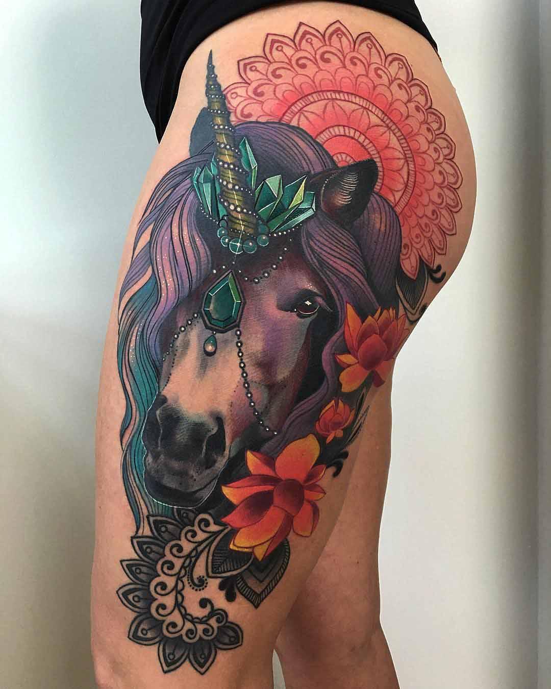 Unicorn Tattoo on hip