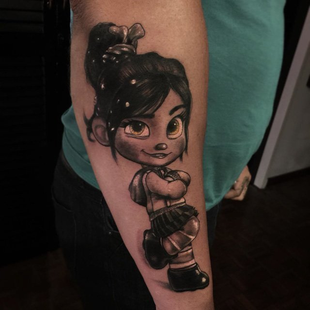 cartoon princess vanellope tattoo on arm