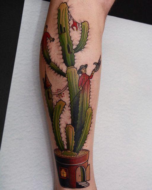 castle cactus tattoo