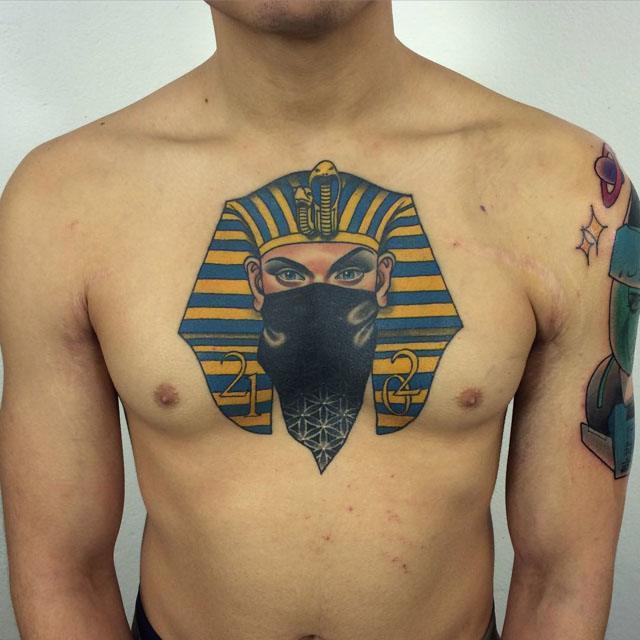 pharaon tattoo on chest
