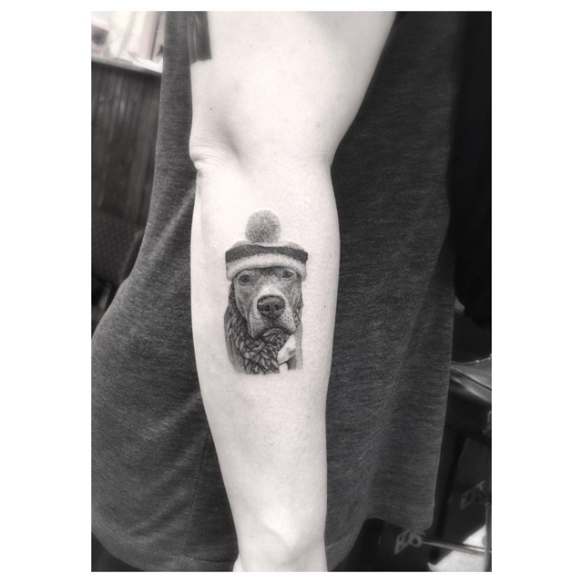 warm hat dog tattoo