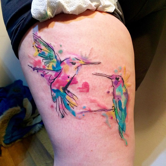 couple of hummingbids tattoo