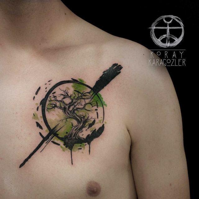 chest tattoo tree