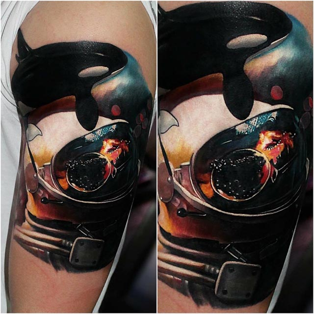 space tattoo design killer whale