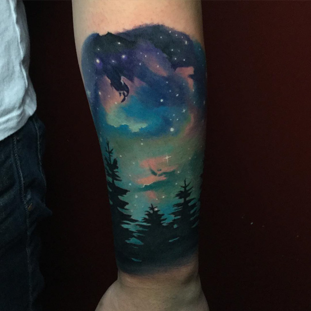 night sky tattoo landscape