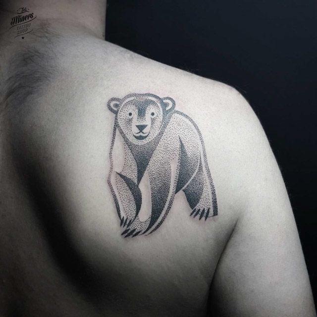 shoulder blade bear tattoo