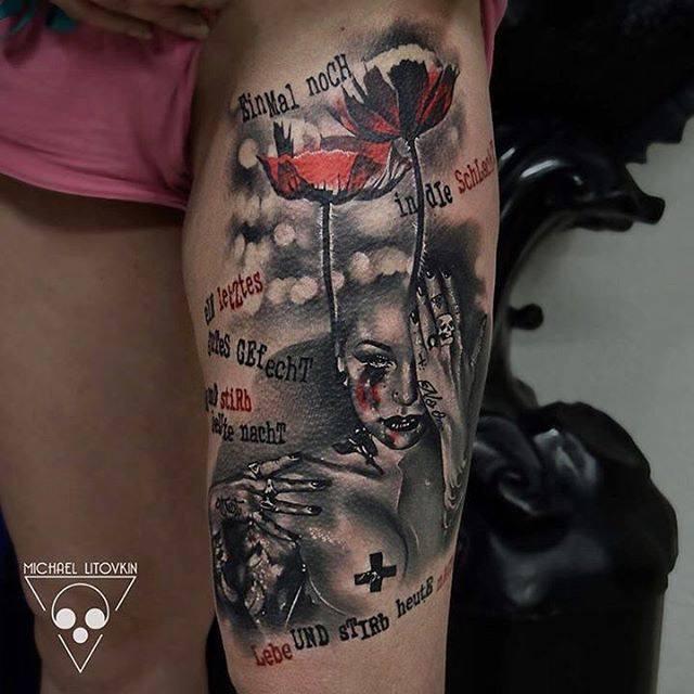 thigh tattoo trash polka