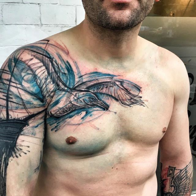 shoulder chest tattoo seagul