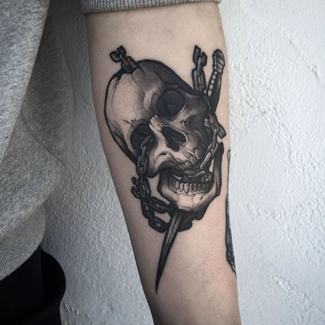 Skull with Chain Tattoo