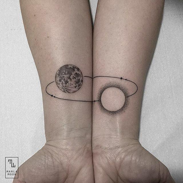 planets orbiting tattoo