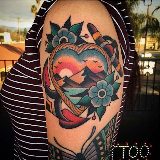 heart landscape otradtitional tattoo on shoulder