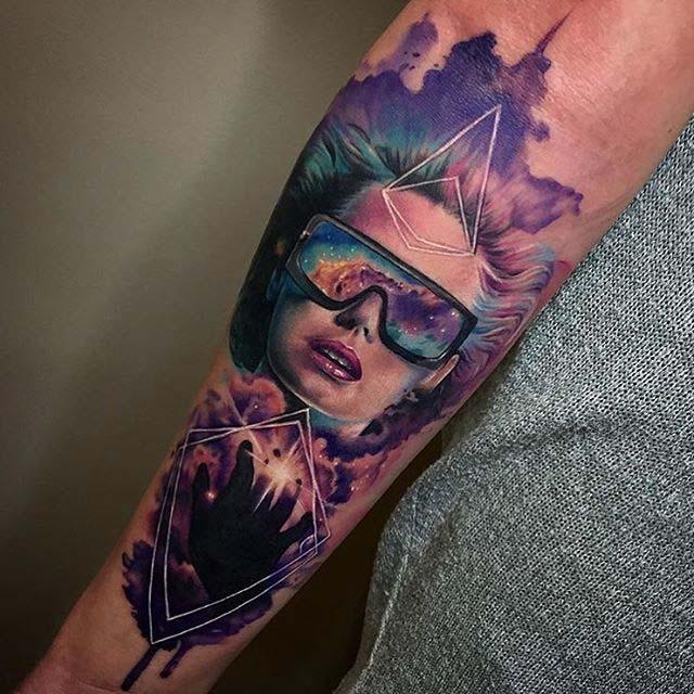 tattoo portrait watercolor style