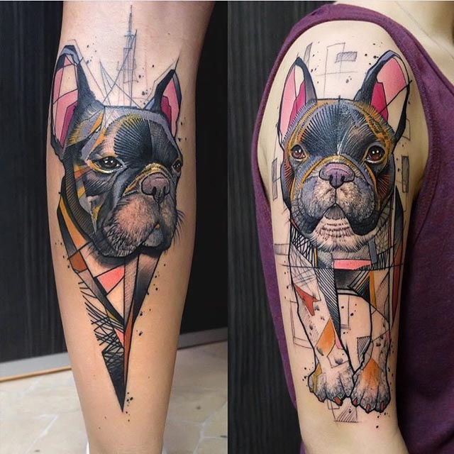 bull dog tattoos on shoulder and shin