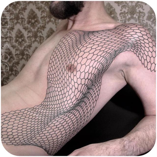 side tattoo honeycomb pattern