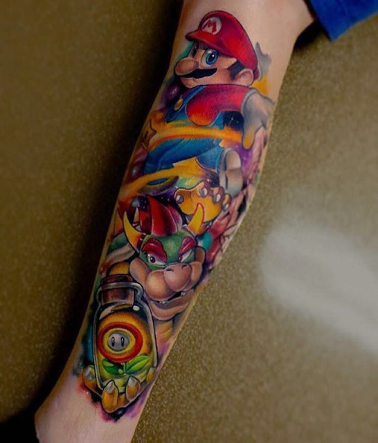 Super Mario Sleeve Tattoo Leg