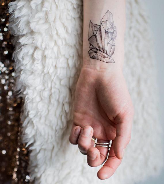 crystal tattoo on wrist