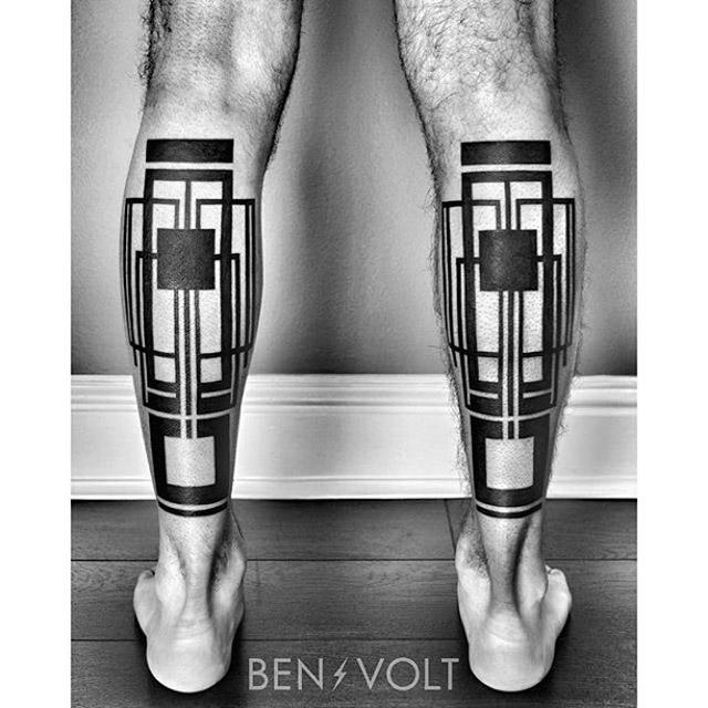 calf geometrical tattoos