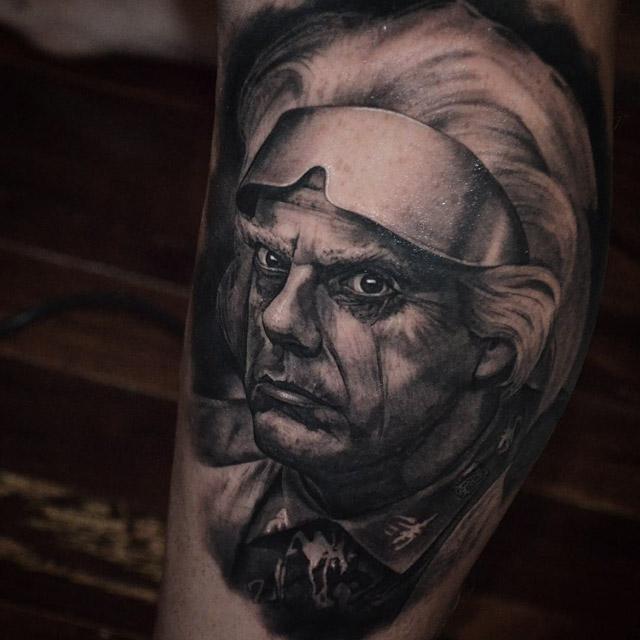 Doc Brown Back to the Future tattoo rtibute