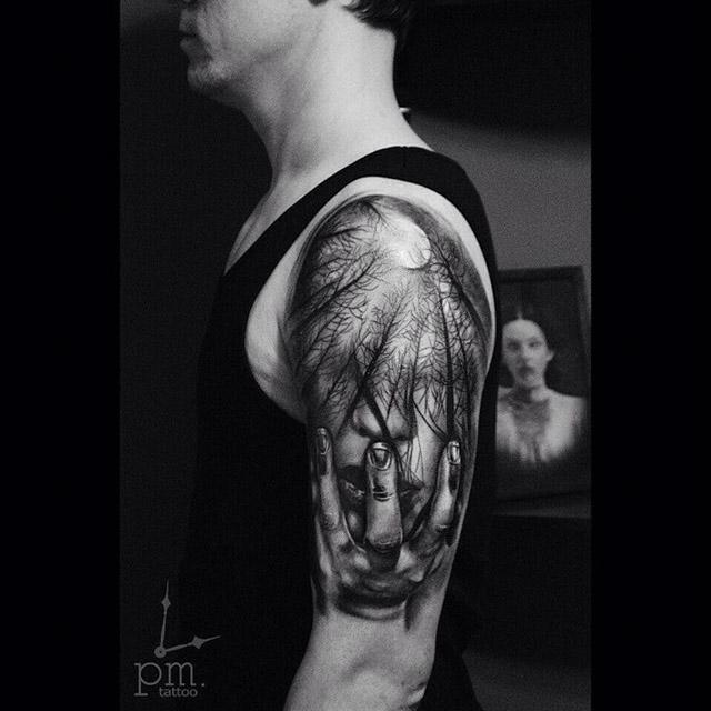 3D forest tattoo on shoulder