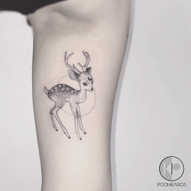 deer tattoo with antlers