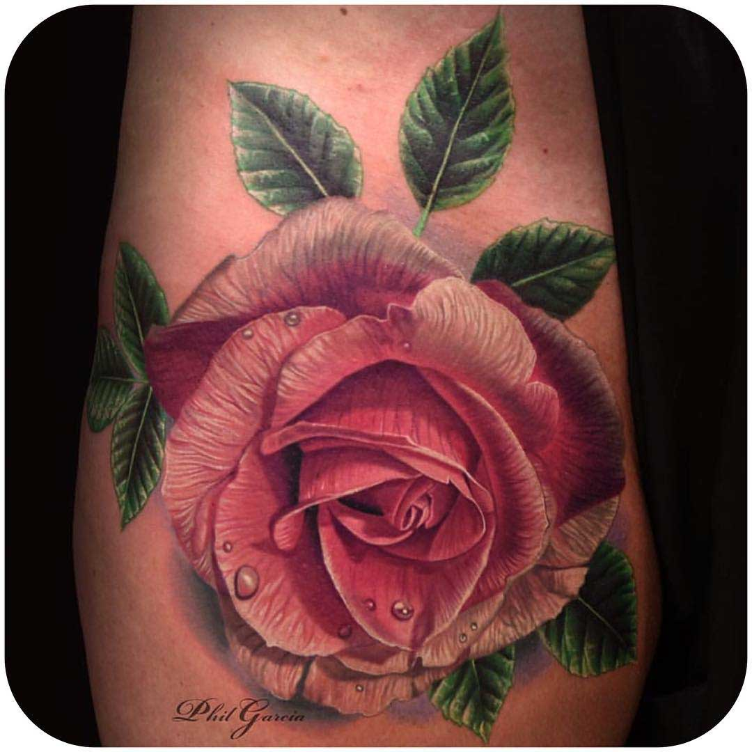pink rose realistic tattoo