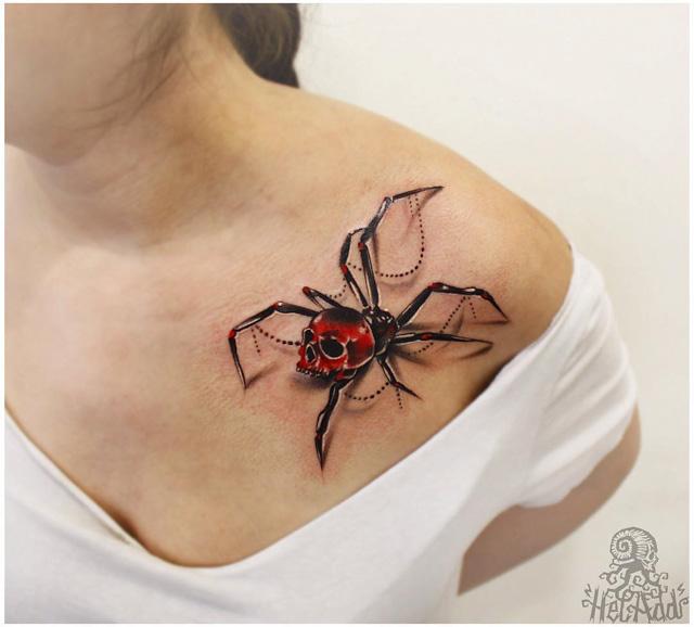 spider 3D tattoo on collar bone