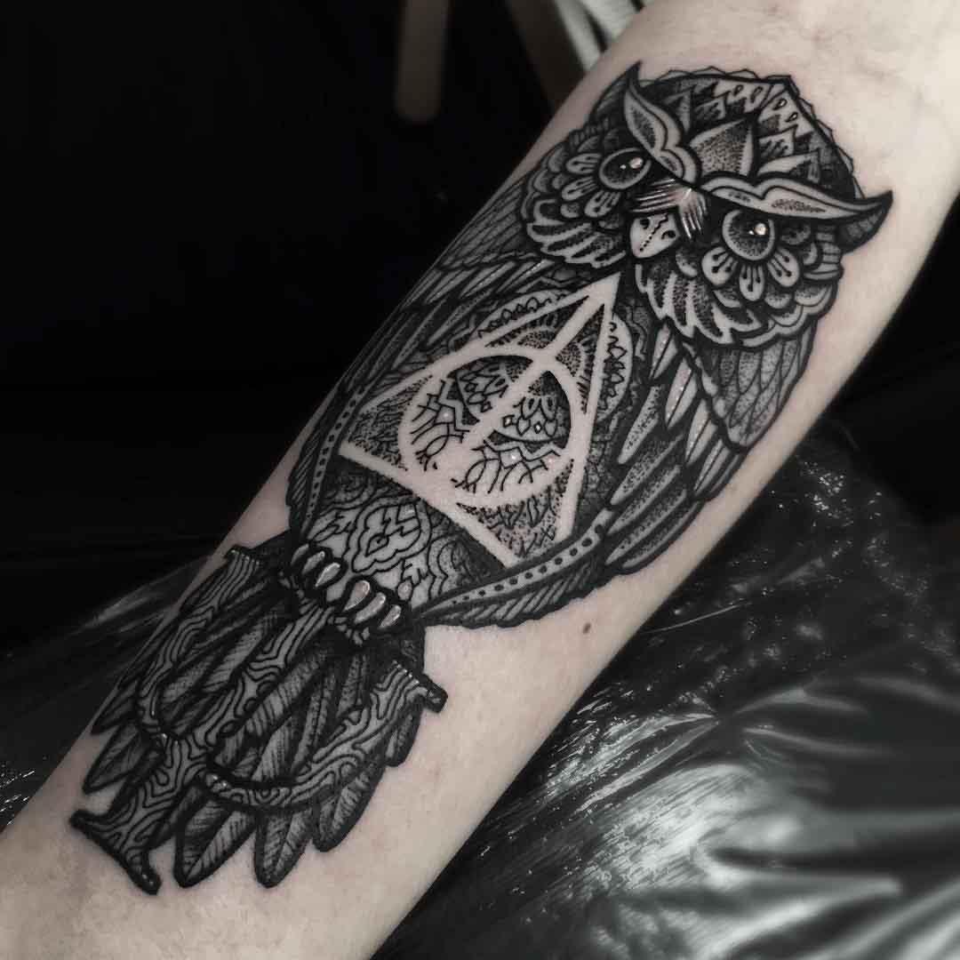 owl tattoo deathly hallows