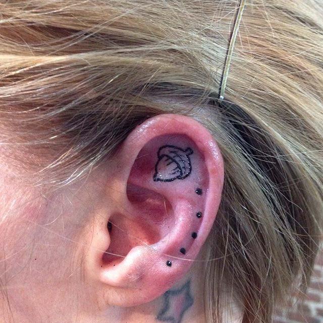 Acorn Ear Tattoo by beckz_m