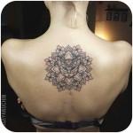 Cat Mandala Tattoo on Back