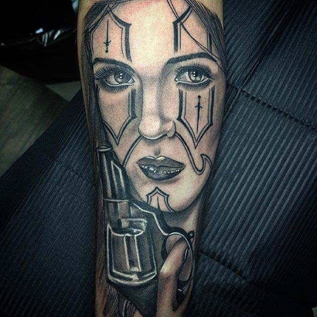 Chicano tattoo style girl face