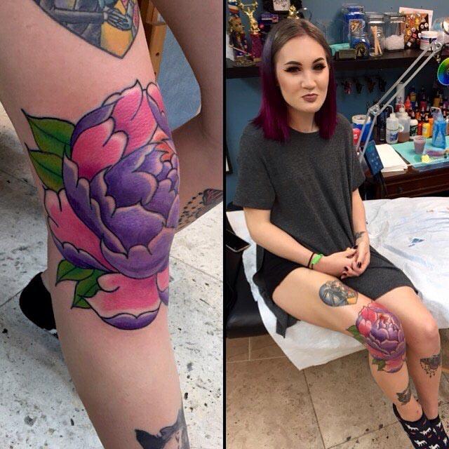 Female Knee Tattoo by Davey CXC