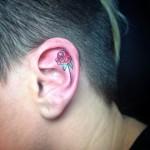 Flower Tattoo Inside Ear