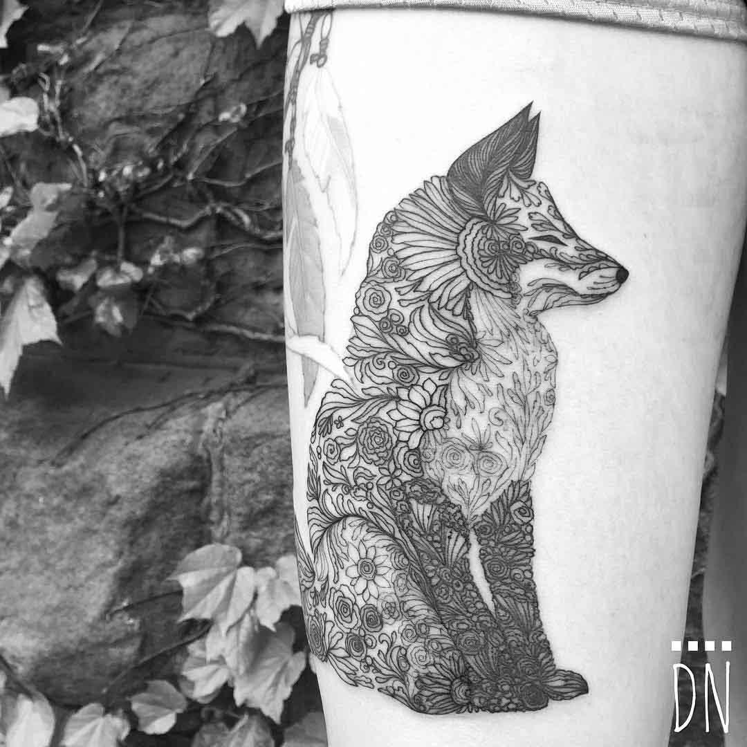 flowers fox tattoo