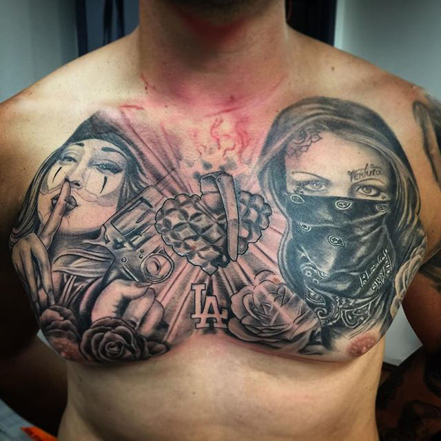 Chest tattoo Chicano Gangster
