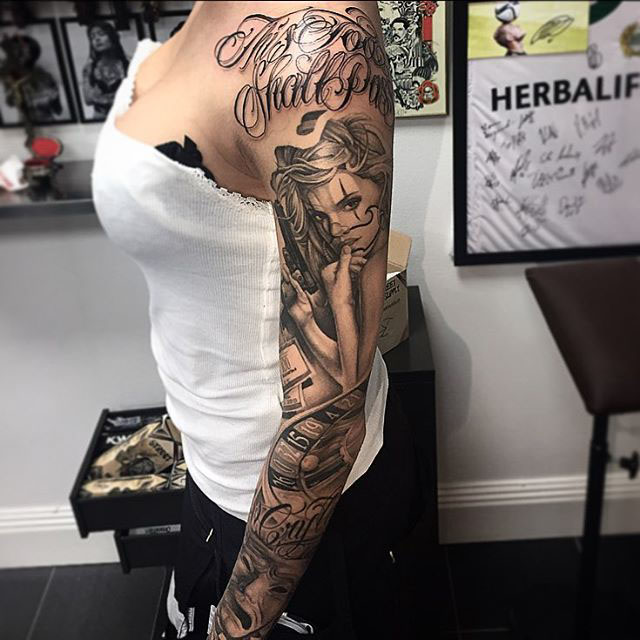 Chicano tattoo sleeve gangster