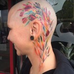Head Tattoo Dlowers Watercolor