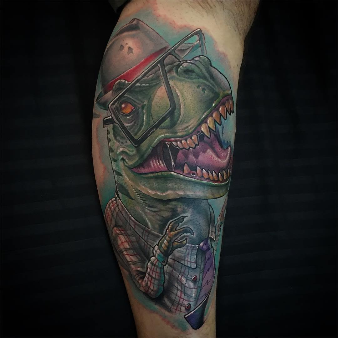 T-Rex tattoo new school