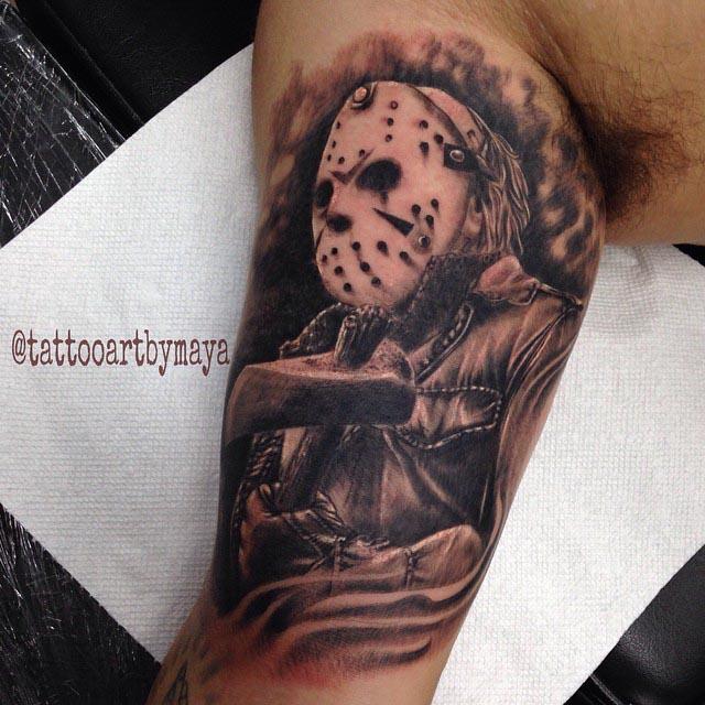 Jason Tattoo on Bicep by tattooartbymaya