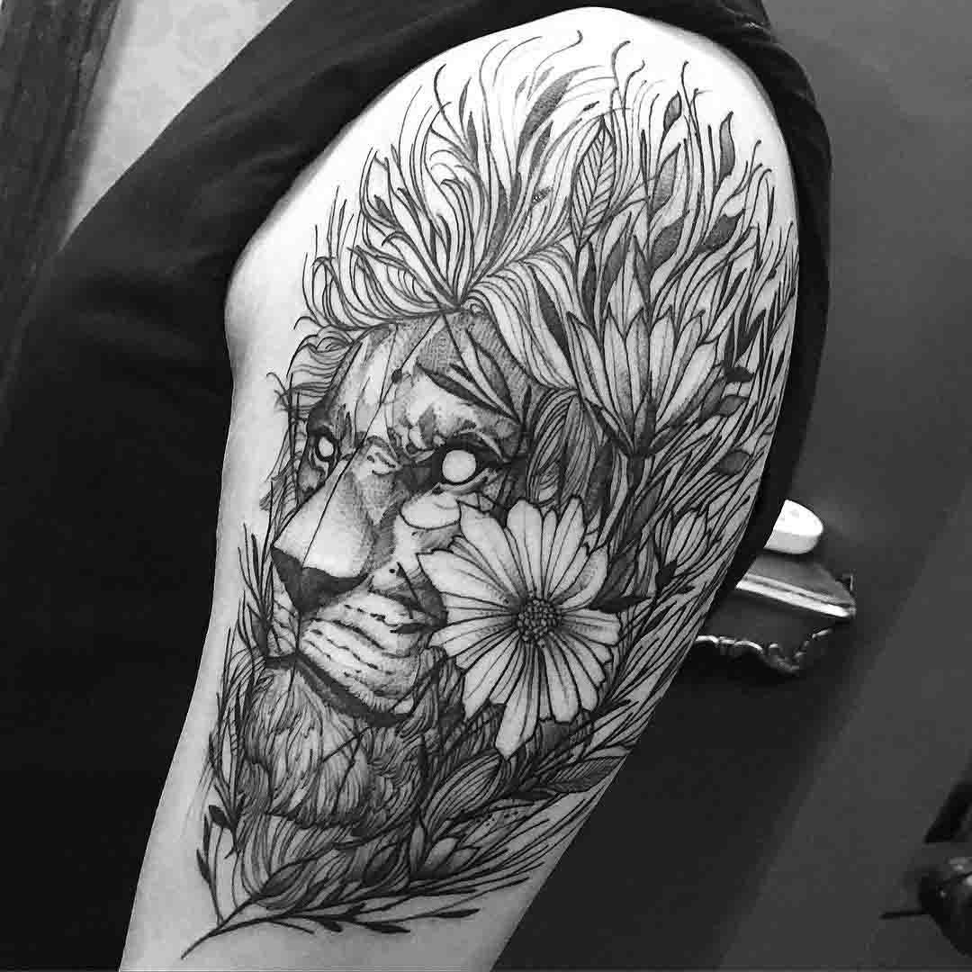shoulder lion sketchy tattoo