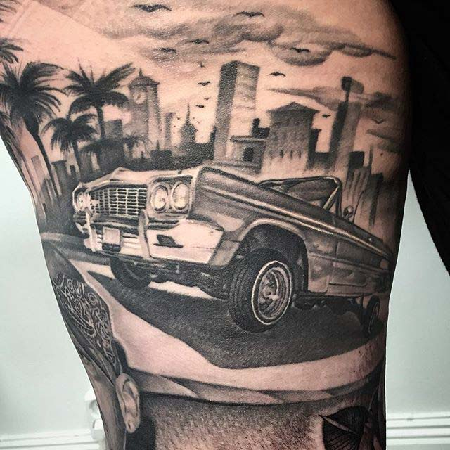 car tattoo Chicano