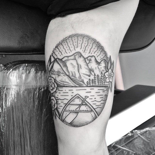Mountain Scene Tattoo by olliewallacetattooist