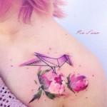 Pink Flowers Origami Bird Tattoo