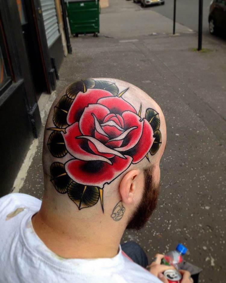 head tattoo flower